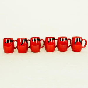 Lg Moustache Mugs Red Set Of 6