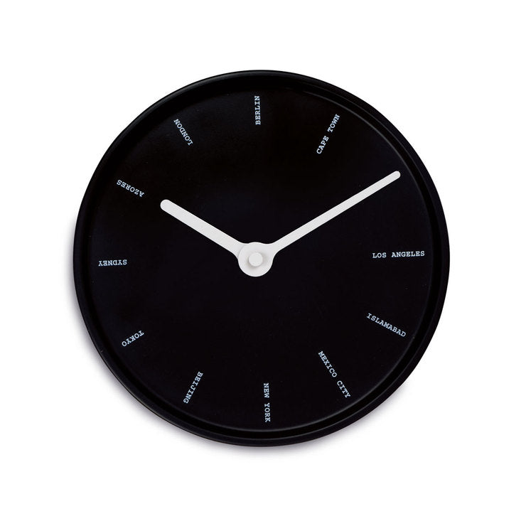 World Time Wall Clock Black