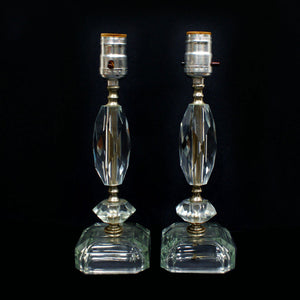 1950s Crystal Lamps Pair