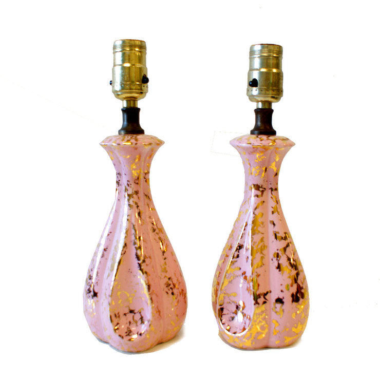 1950s Lamps Pair Pink And Gold