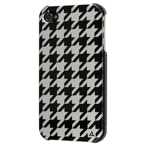 iPh 4/4S Houndstooth Blk Silver