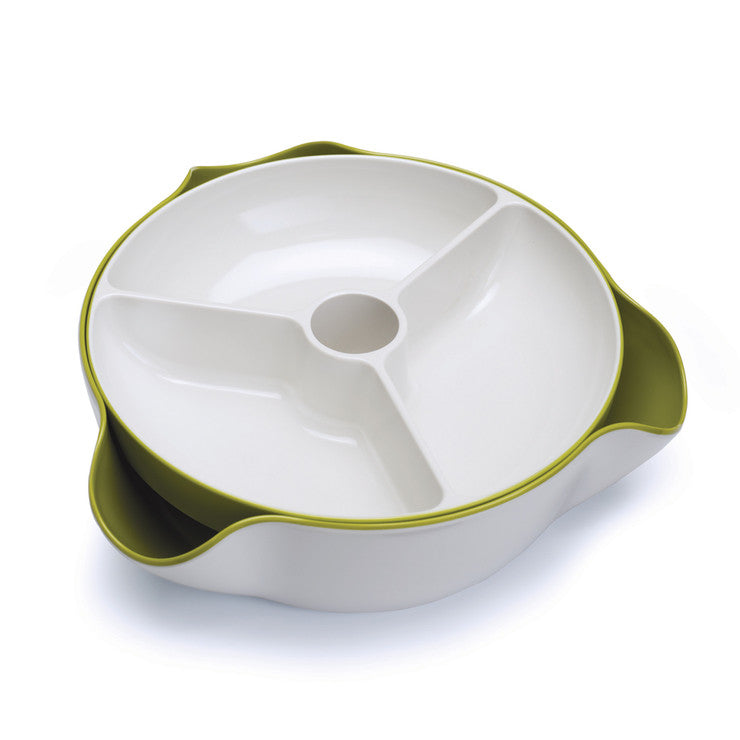 Double Dish Large White Green