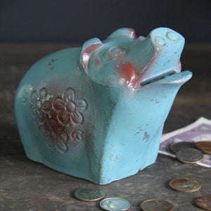 Blue Metal Piggy Bank