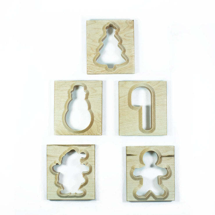 5 Holiday Wooden Cookie Cutters