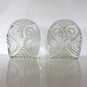Blenko Glass Owl Book Ends