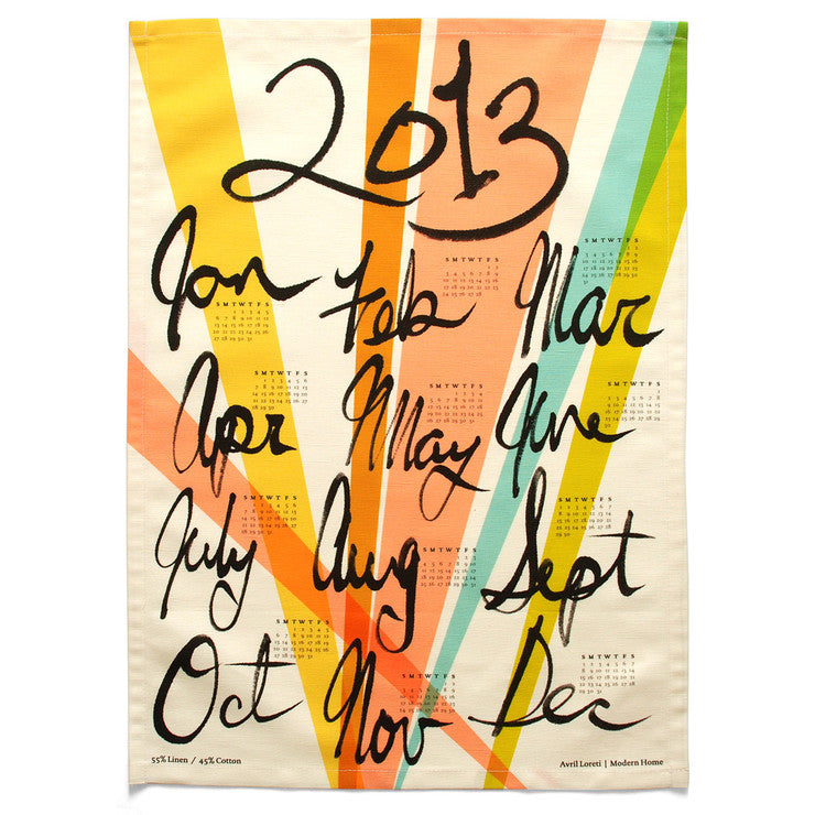2013 Calendar Tea Towel