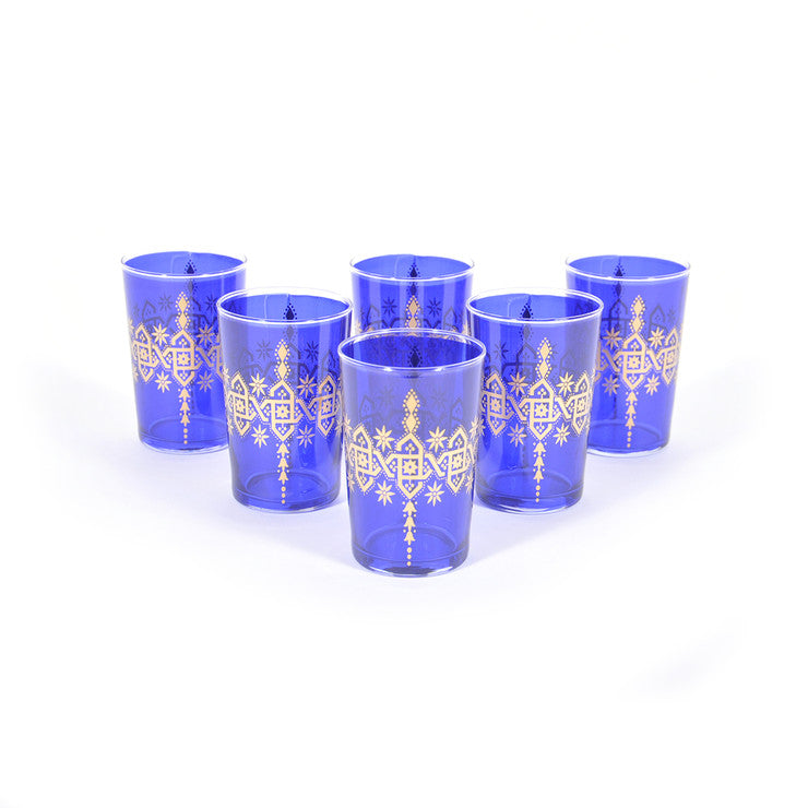 Henna Glasses Blue Set Of 6