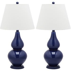 Glass Lamp 26.5\ Navy Pair""