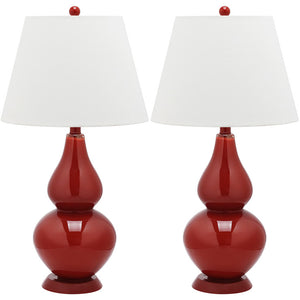 Glass Lamp 26.5\ Red Pair""