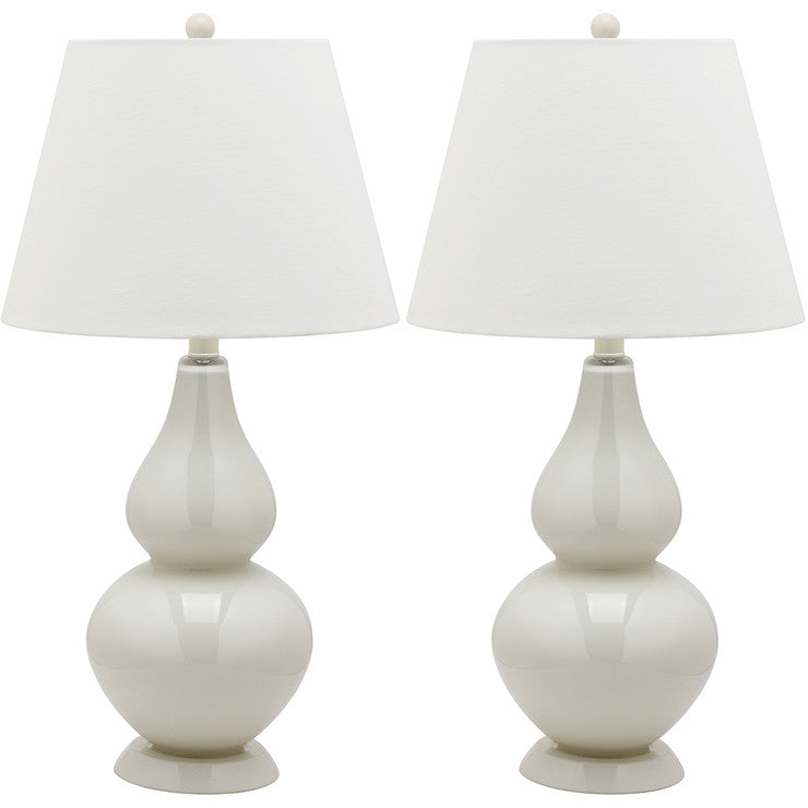 Glass Lamp 26.5\ Cream Pair""