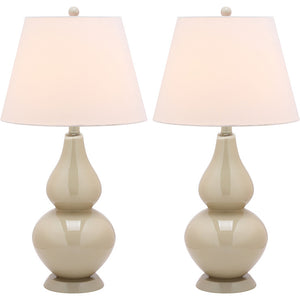 Glass Lamp 26.5\ Taupe Pair""