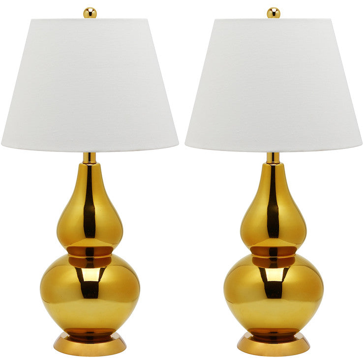 Glass Lamp 26.5\ Gold Pair""