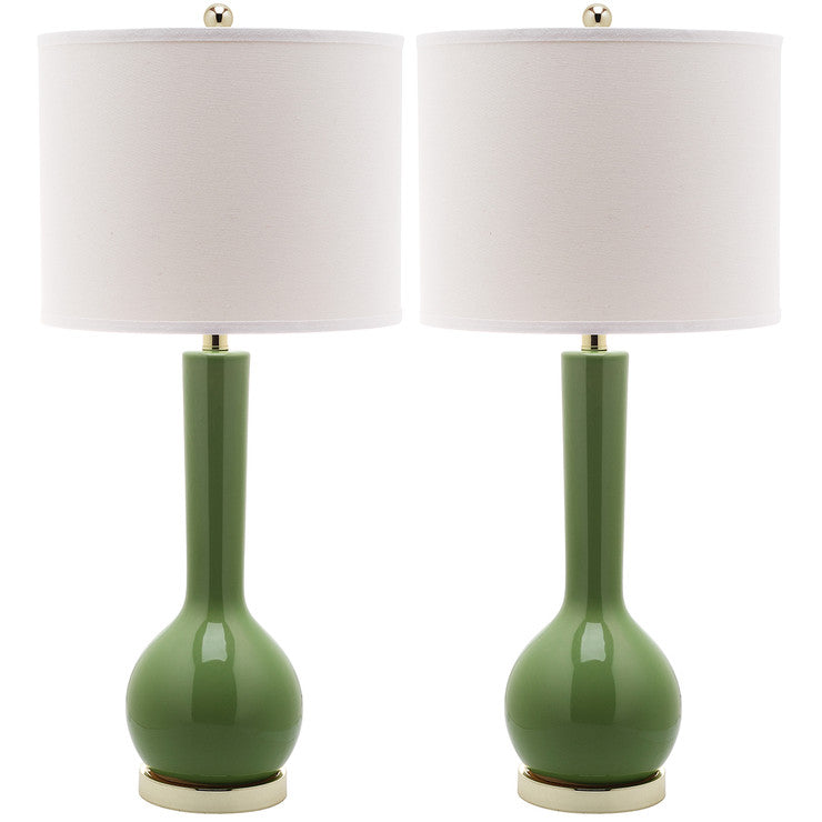Ceramic Lamp 30.5\ Green Pair""
