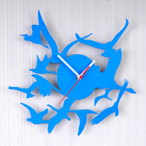 Birds Wall Clock Blue