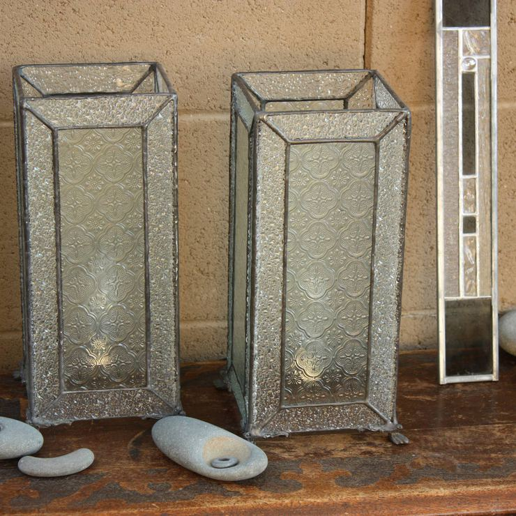 Glass Leaded Accent Lamps Set