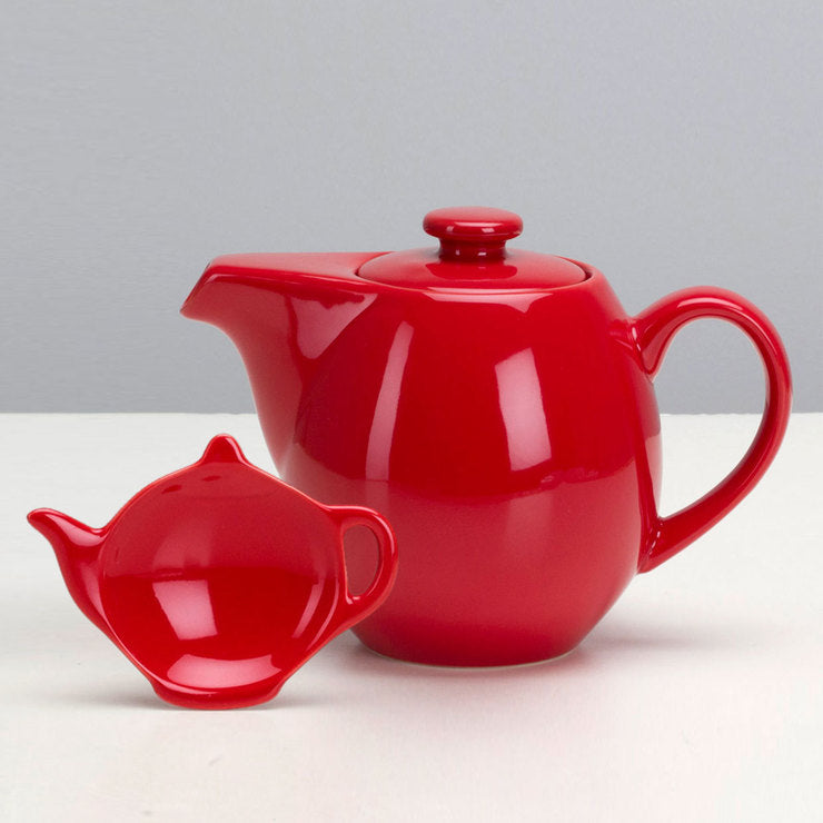 Infuser Teapot 24oz & Caddy Red