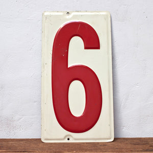 Simple Metal Number 6 Sign