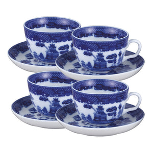 Cup And Saucer Blue Willow 4Pc