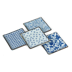 Dish 5\ Blue And White Set Of 4""