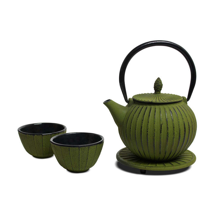 Cast Iron Tea Set Green