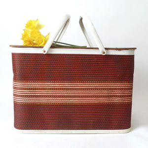 Large Woven Red Picnic Basket
