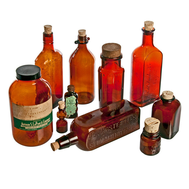 Amber Glass Bottles Set Of Ten