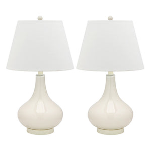 Amy Glass Lamp 24\ White Pair""