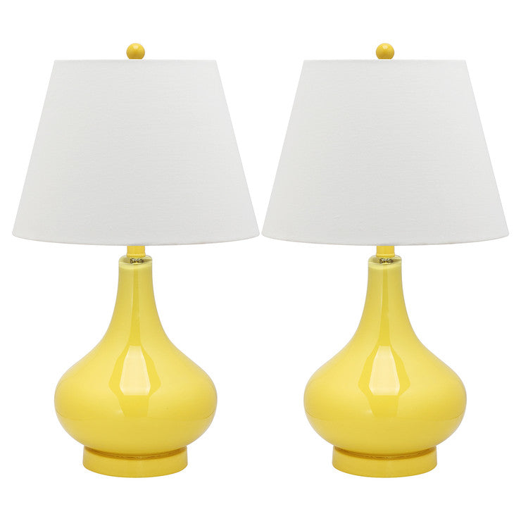 Amy Glass Lamp 24\ Yellow Pair""