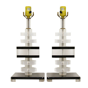 1970s Lucite Stacked Lamps