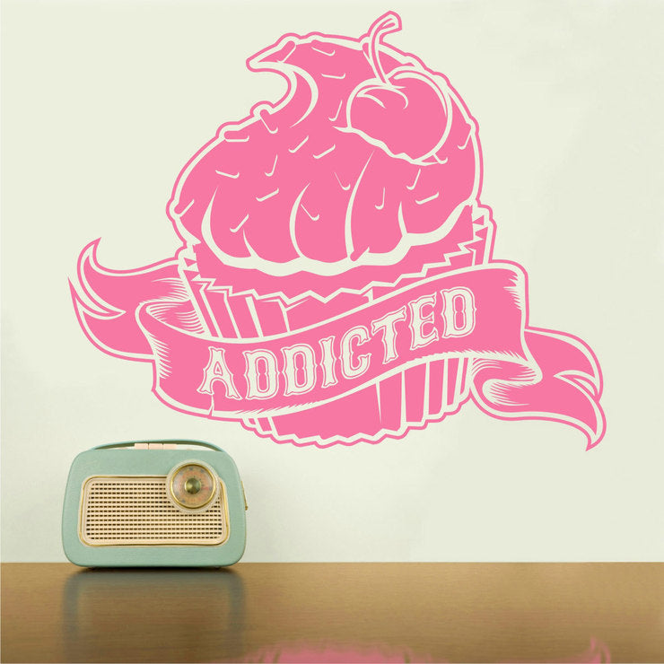 Cupcake Addicted Wall Decal Pink