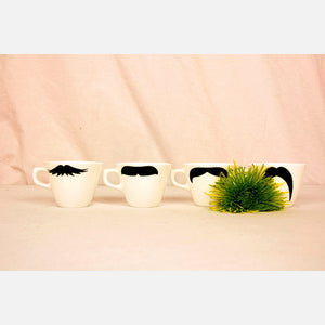 Moustache Cups Right-Handed 4Pc