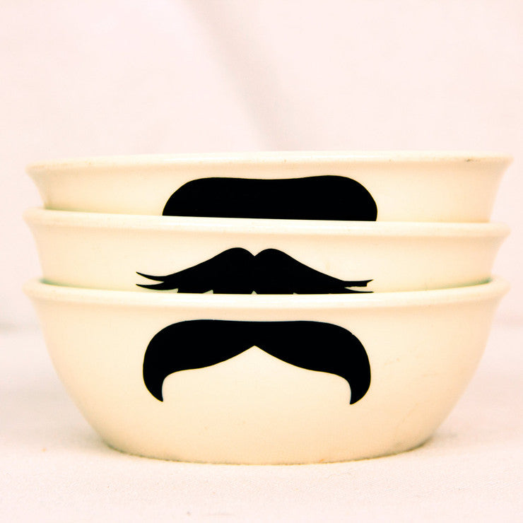Moustache Bowls Blue White 3Pc
