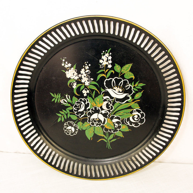 Black Flower Serving Tray