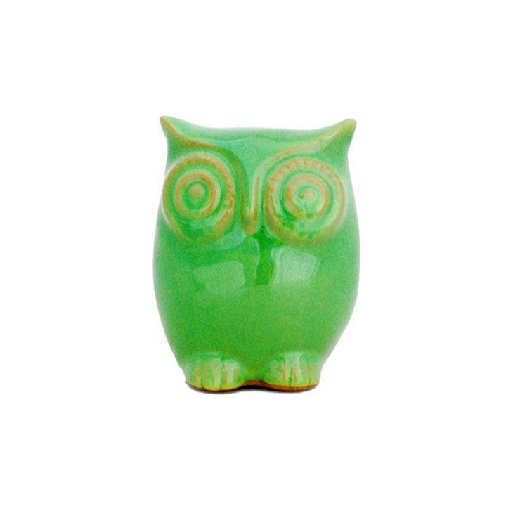 Ceramic Owl Medium Spring Green