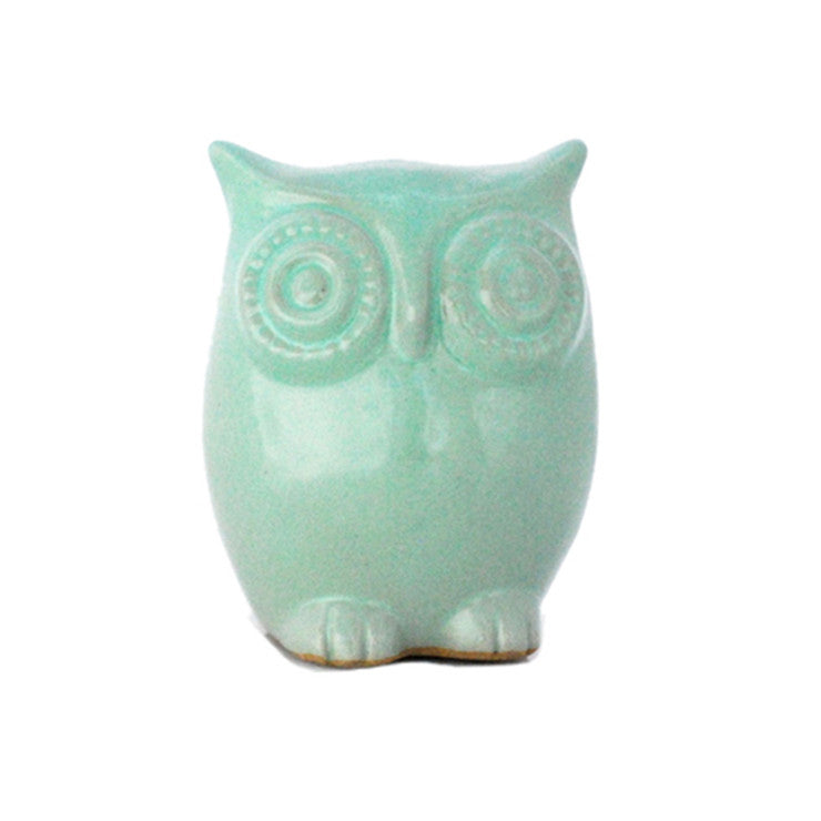 Ceramic Owl Large Mint Green