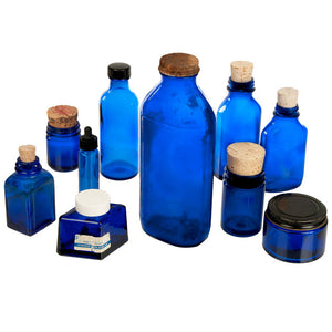 Blue Glass Bottles Set Of 10