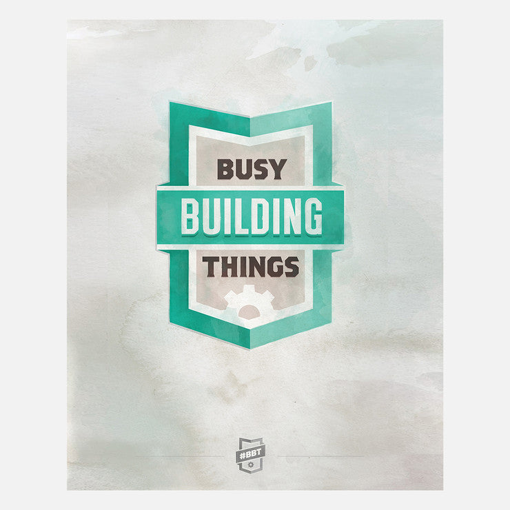 Busy Building Clingprint Teal