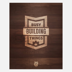Busy Building Clingprint Wood