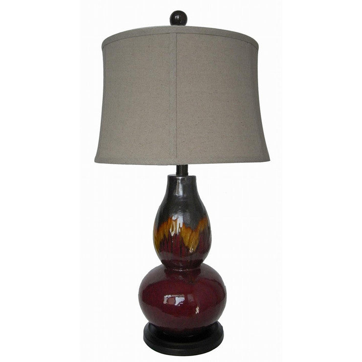 Ceramic Lamp 29\ Burgundy Orange""