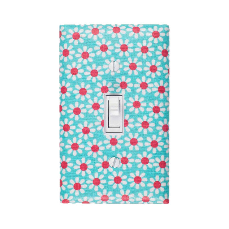 Daisy Switch Plate Aqua