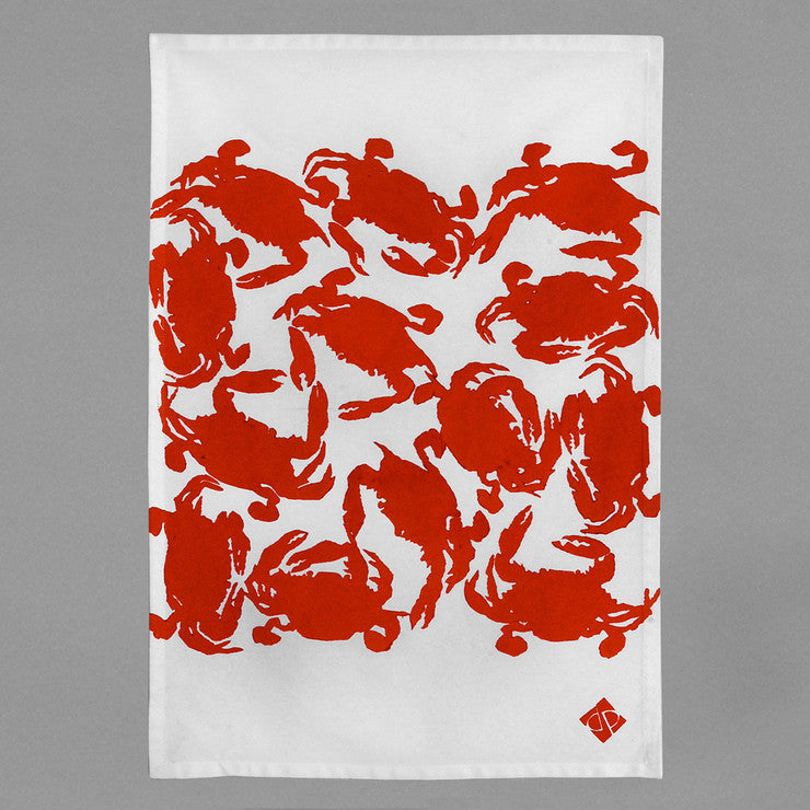 Crab Boil Kitchen Towel Red