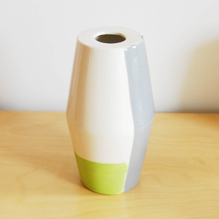 Cone Vase Yellow Gray Green