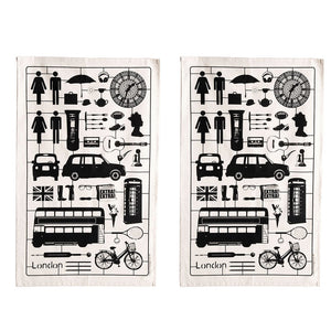 Airfix London Tea Towel Black