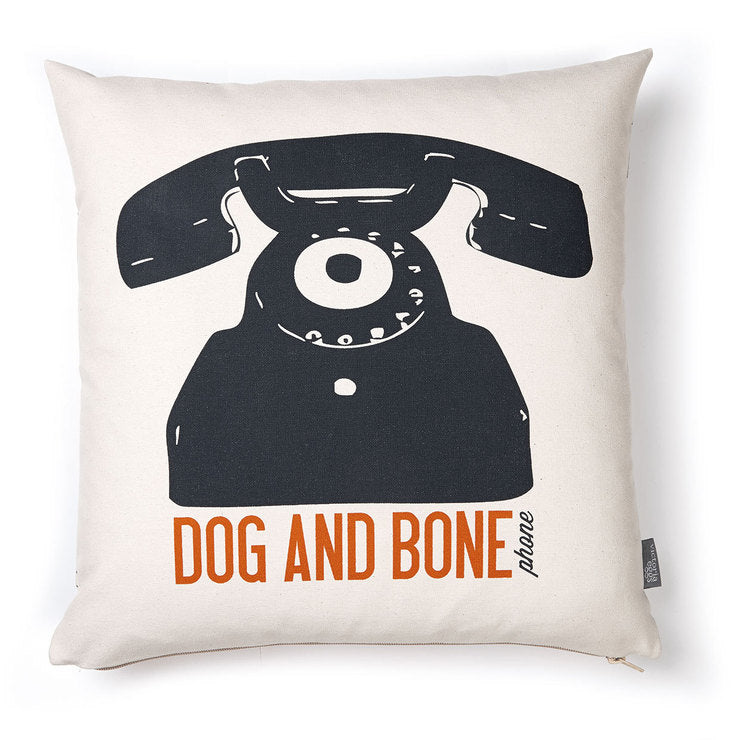 Dog And Bone Cushion Orange