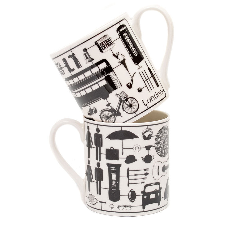 Airfix London Mug Black Set Of 2