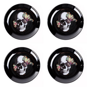 Blooming Skull Plates Set Of 4