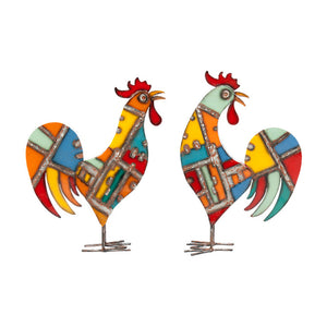 Patchwork Roosters Set Of 2