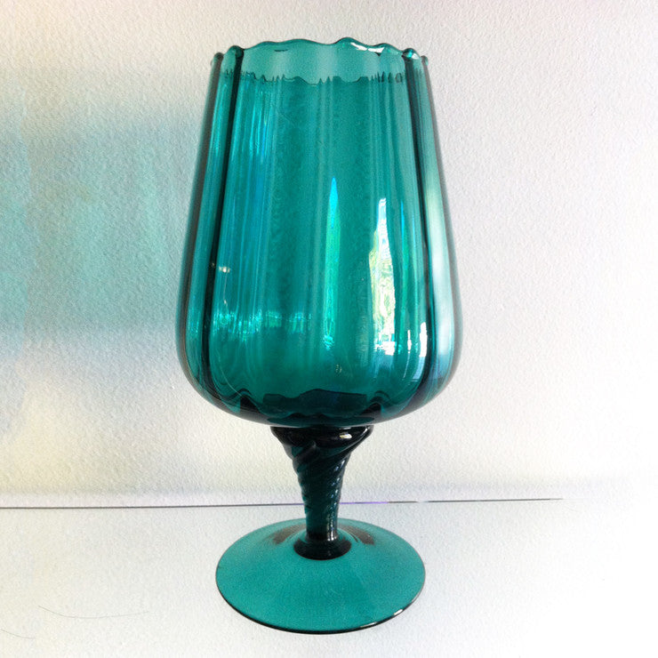 Cylindrical Optic Goblet Teal