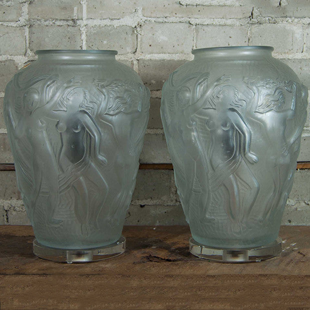 Frosted Glass Nude Lamp Pair