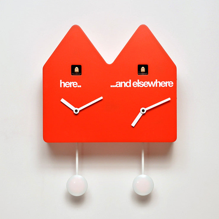 Double Q Wall Clock Red